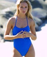 blue one piece bathing suit